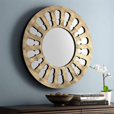 "32"" Round Wood Cut-Out Mirror"