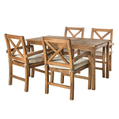 Acacia Wood Simple Patio 5-Piece Dining Set w/ x-shaped back - Brown