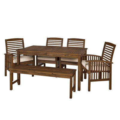 Acacia Wood Simple Patio 6-Piece Dining Set - Dark Brown