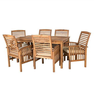 Acacia Wood Simple Patio 7-Piece Dining Set - Brown