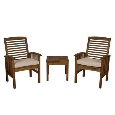Acacia Wood Patio Chairs and Side Table - Dark Brown