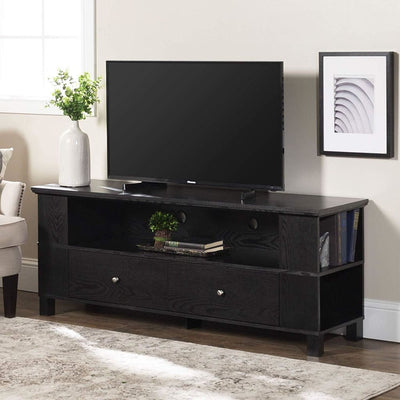 Durable Wood TV Console with Multi-Purpose Storage in Black hue by Walker Edison WLK-P60CMPBL