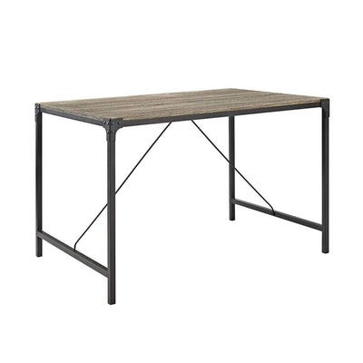 "48"" Angle Iron Wood Dining Table, Driftwood"