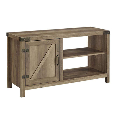 44 inch Rustic Farmhouse Barn Door Console - Rustic Oak