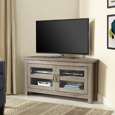 "44"" Wood Corner TV Media Stand Storage Console - Driftwood"