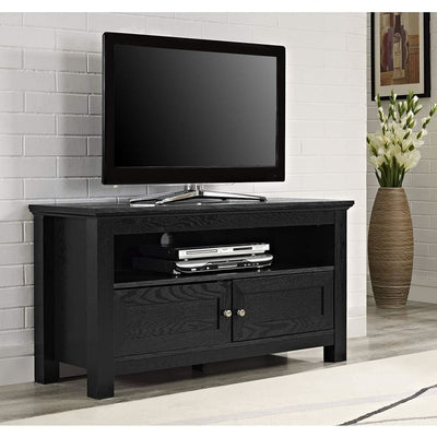 Utilitarian Cortez Wood TV Console In Black Finish by Walker Edison WLK-W44CSBL