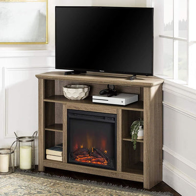 "44"" Wood Corner Highboy Fireplace TV Stand - Driftwood"