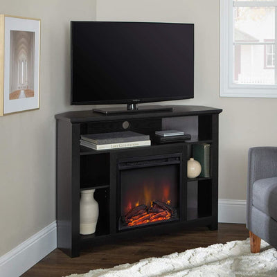 "44"" Wood Corner Highboy Fireplace TV Stand - Black"