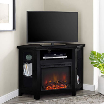 "48"" Wood Corner Fireplace Media  TV Stand Console  - Black"