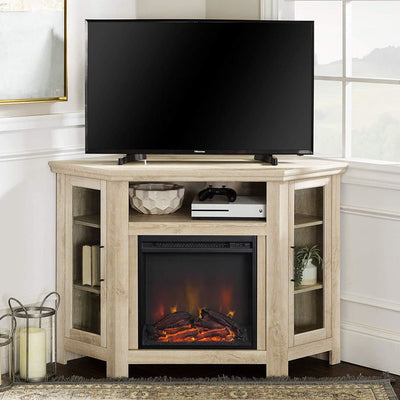 "48"" Wood Corner Fireplace Media  TV Stand Console  - White Oak"