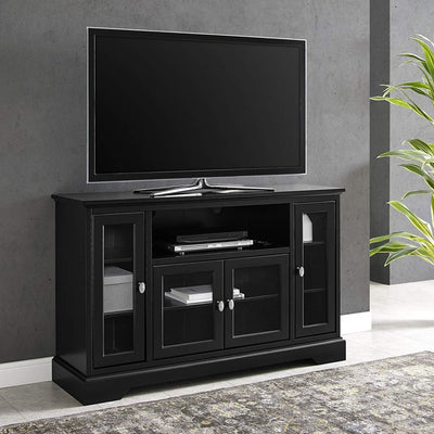 Wood TV Stand for up to 58 Flat Screen Black by Walker Edison WLK-W52C32BL