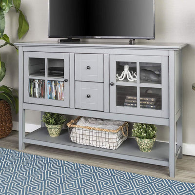 "52"" Wood Console Table Buffet TV Stand - Antique Grey"