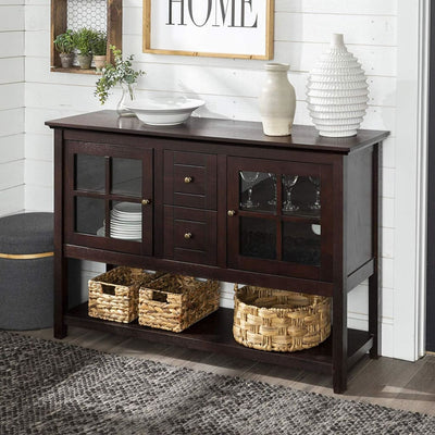"52"" Wood Console Table Buffet Stand - Espresso"