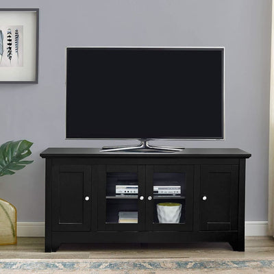 Stylish yet Reliable Wood TV Console with Four Doors In Matte Black by Walker Edison WLK-W52C4DOBL