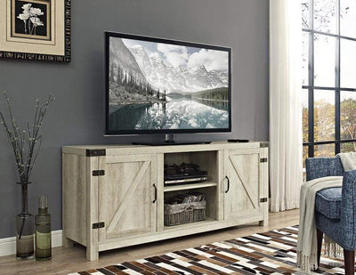 "58"" Barn Door TV Stand with Side Doors - White Oak"