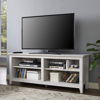 "58"" Wood TV Media Stand Storage Console - White"