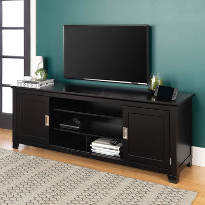 Chic Looking Black Wood TV Console w/Sliding Doors by Walker Edison