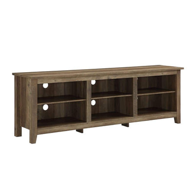 "70"" Wood Media TV Stand Storage Console - Rustic Oak"