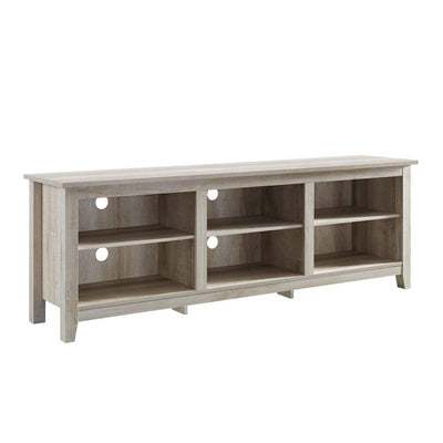 "70"" Wood Media TV Stand Storage Console - White Oak"