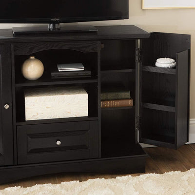 Chic and Compact Black Bedroom TV Console with Media Storage by Walker Edison WLK-WQ42BC3BL