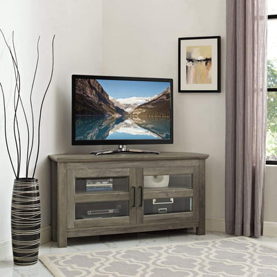 "44"" Corner Wood TV Console - Grey Wash"