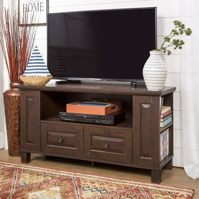 Multi-Purpose Wood TV Console in Traditional Brown by Walker Edison