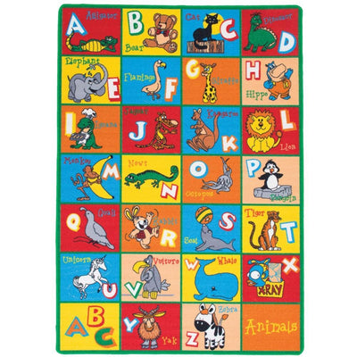 Abbey Contemporary Kids Area Rug Abc Animals With non Slipping Gel Back, Multicolor By Casagear Home