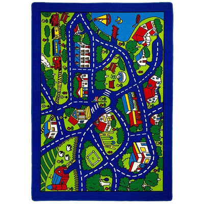 Abbey Contemporary Kids Area Rug Street Map Blue with non Slipping Gel Back By Casagear Home