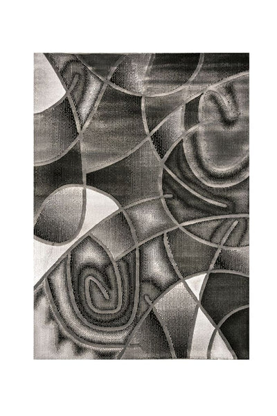 Abstract Patterned Area Rug In Polyester With Jute Mesh, Small, Gray By Casagear Home