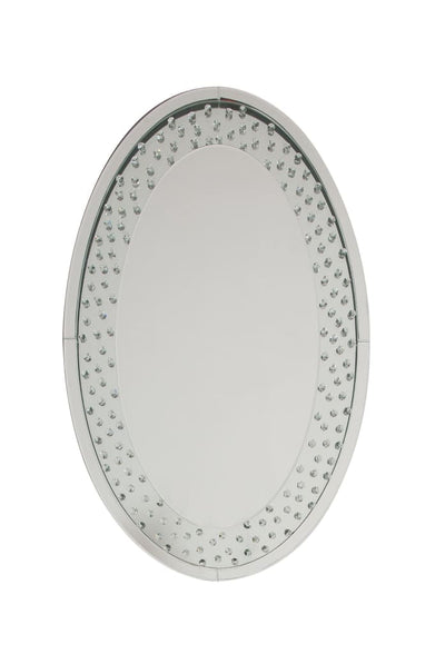 Accent Wall Mirror with Round Crystal Inserts