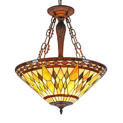"Aiken Tiffany-Style 3 Light Inverted Ceiling Pendant 20"" Shade - CH36935AG20-UH3"