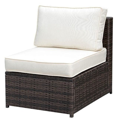 Aluminum Frame Patio Side Chair With Cushioned Seating, Ivory & Espresso Brown By Casagear Home