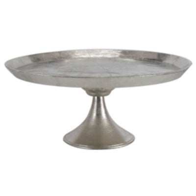 Aluminum Round Footed tray, Silver By Casagear Home