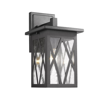 "Anthony Transitional 1 Light Textured Black Outdoor Wall Sconce 14"" Tall - CH2S080BK14-OD1"