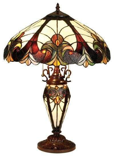 "LIAISON Tiffany-style 3 Light Victorian Double Lit Table Lamp 18"" Shade"