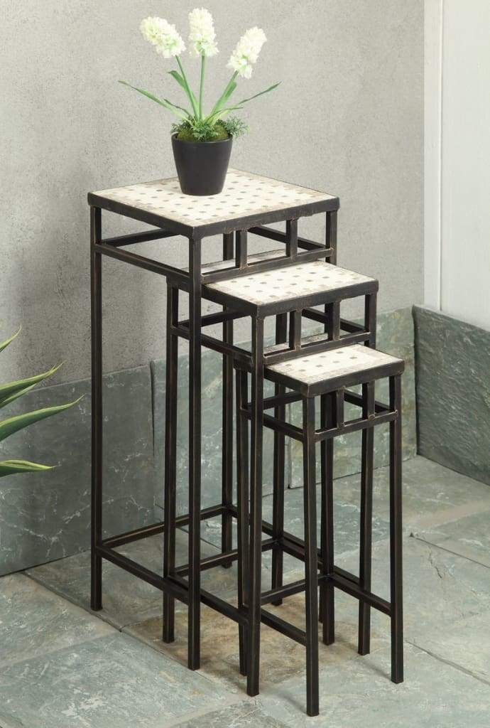 4D Concepts Attractive Three Slate Square Shaped Plant Stands