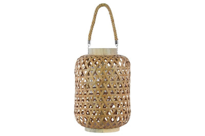 Bamboo Round Lantern with Triangle Cutouts and Hemp Rope Handle, Cream