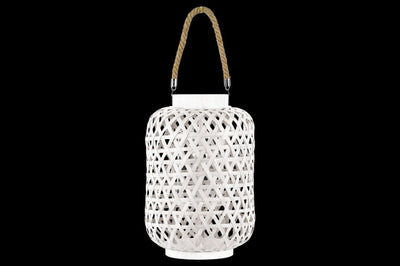 Bamboo Round Lantern with Triangle Cutouts and Hemp Rope Handle, White
