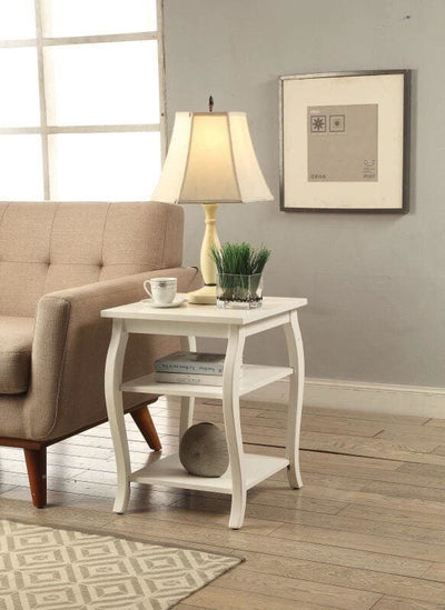 Wooden End Table with 2 Open Shelves and Cabriole Legs, White