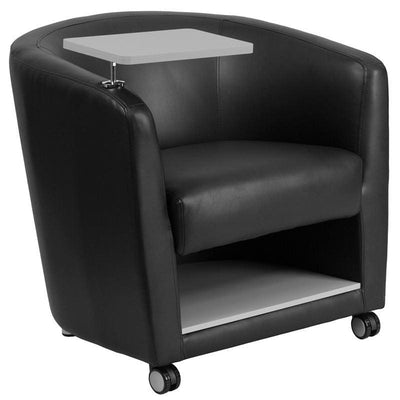 Black Leather Guest Chair with Tablet Arm Front Wheel Casters and Under Seat Storage