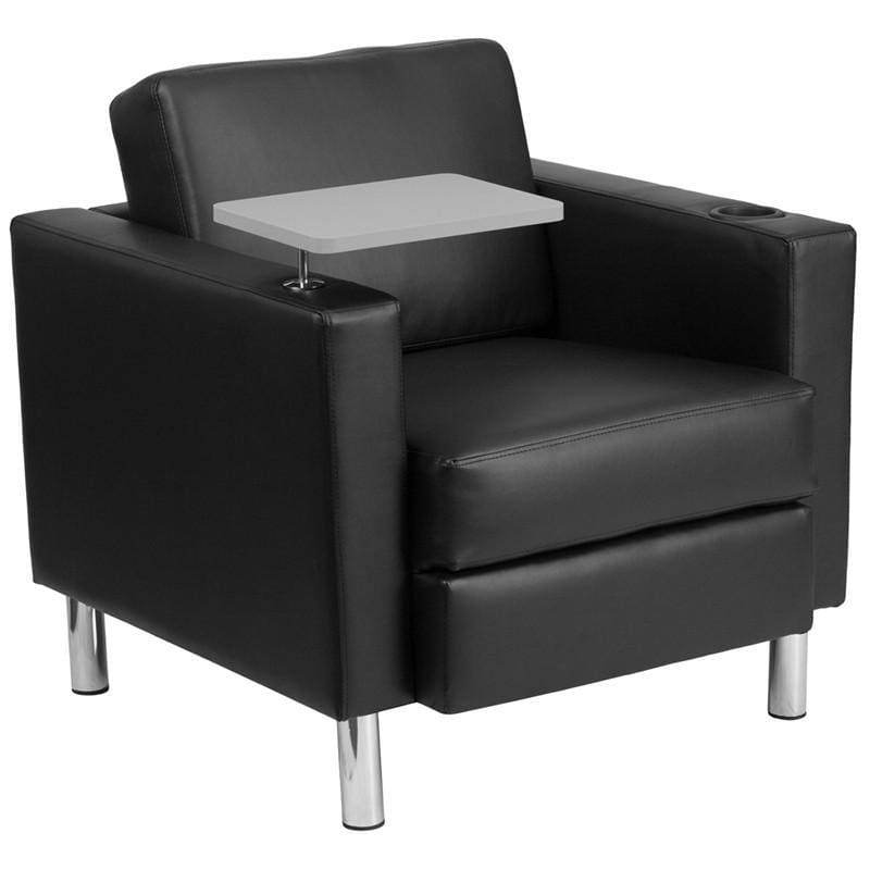 Black Leather Guest Chair with Tablet Arm Tall Chrome Legs and Cup Holder
