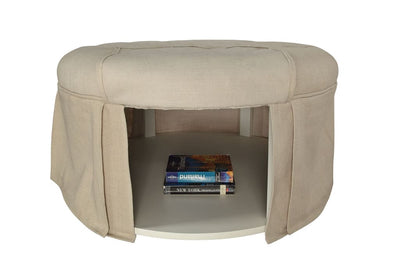 Button Tufted Fabric Upholstered Ottoman With Open Bottom Shelf, Beige By Casagear Home