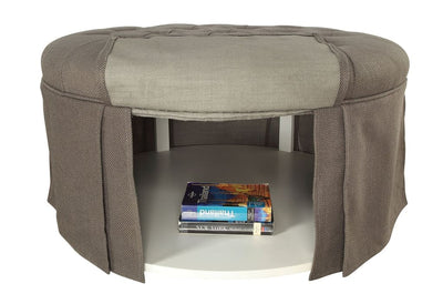 Button Tufted Fabric Upholstered Ottoman With Open Bottom Shelf, Gray By Casagear Home