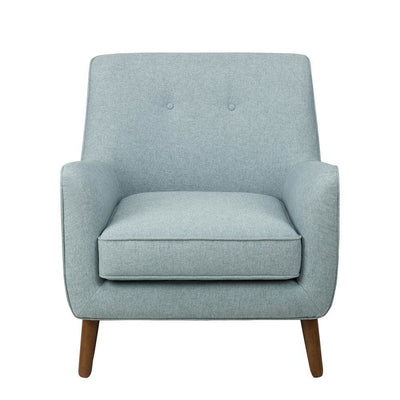 Button Tufted Fabric Upholstered Wooden Accent Chair with Slanted Legs, Blue and Brown - K7080-799-11 By Casagear Home