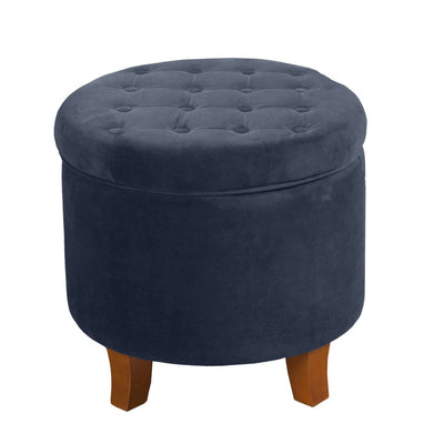 Button Tufted Velvet Upholstered Wooden Ottoman with Hidden Storage, Dark Blue and Brown - K6171-B215 By Casagear Home