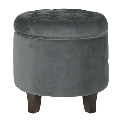 Button Tufted Velvet Upholstered Wooden Ottoman with Hidden Storage, Gray and Brown - K6171-B229 By Casagear Home