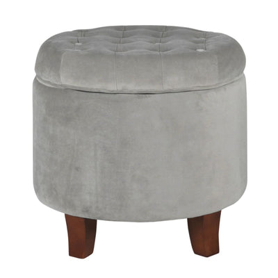 Button Tufted Velvet Upholstered Wooden Ottoman with Hidden Storage, Light Gray and Brown - K6171-B214 By Casagear Home