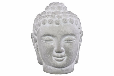 Cemented Buddha Head with Rounded Ushnisha, Washed White