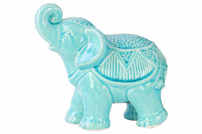Ceramic Glossy Standing Trumpeting Ceremonial Elephant Figurine, Blue
