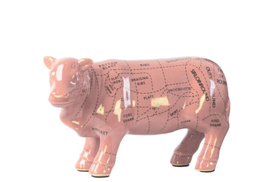 Ceramic Standing Beef Cut Chart Figurine in Gloss Finish, Pink